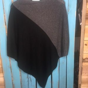 Celeste wool and cashmere color block poncho
